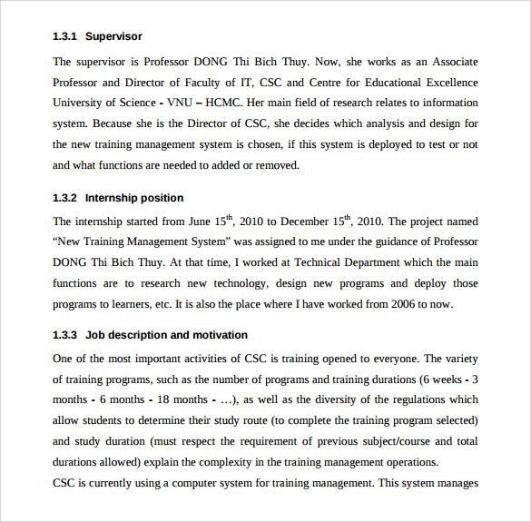 Sample Internship Report Template \u2013 15+ Free Documents Download in