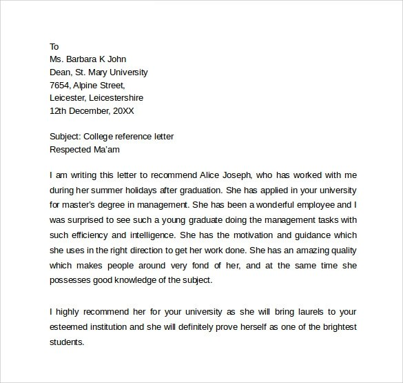 12 Personal Reference Letter Templates \u2013 Samples , Examples - personal referral letter