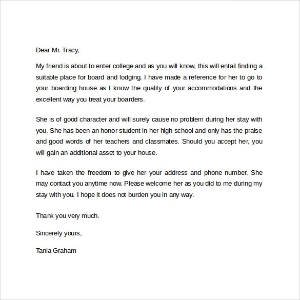 Tenant Reference Letter For A Friend Sample  Professional Resumes