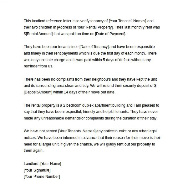 10 Landlord Reference Letter Templates \u2013 Samples , Examples