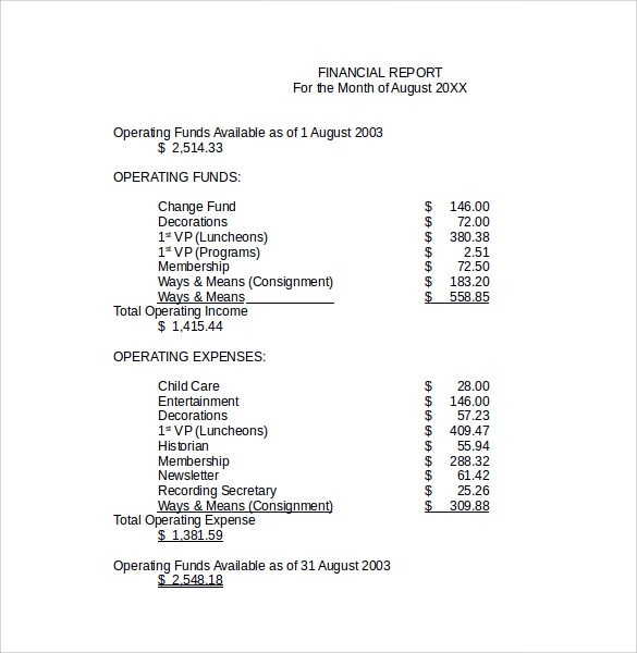 sample of a financial report 3slufsluidsprekers