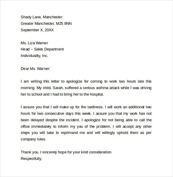 Sample Apology Letter for Being Late - 8 + Free Documents to Download - apology letter for being late