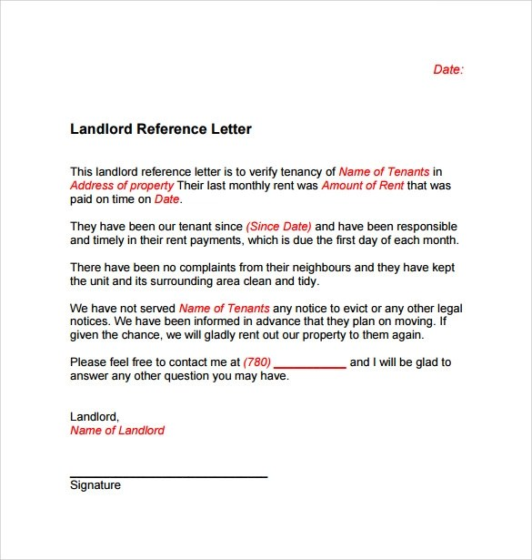 Landlord Reference Letter Template - 10+ Samples , Examples  Formats