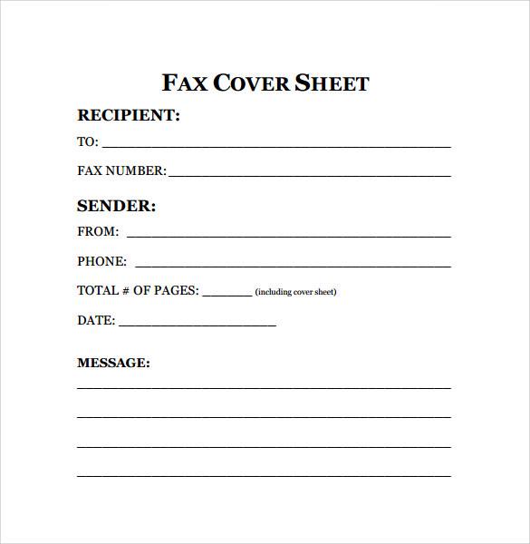 fax sheet sample
