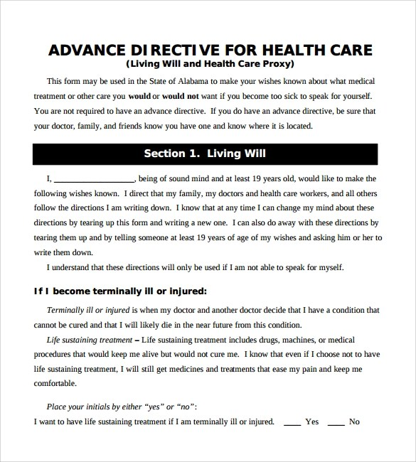 10+ Advance Directive Forms \u2013 Samples, Examples  Format Sample