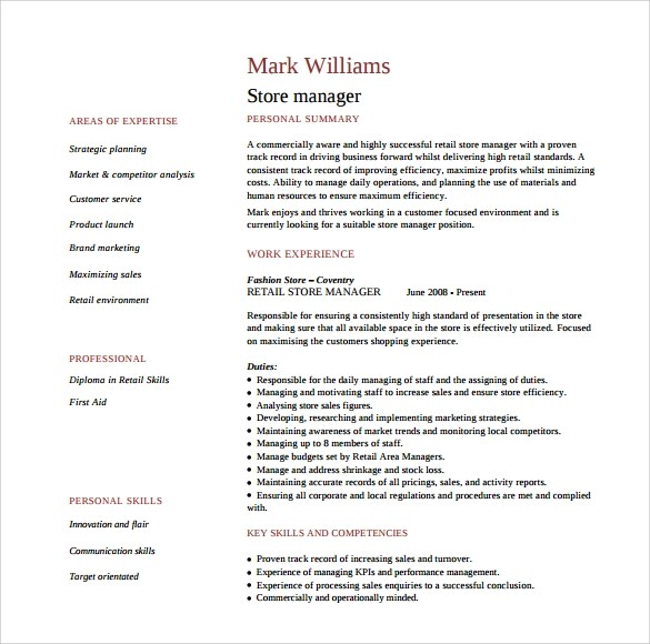 11+ Store Manager Resume Templates Sample Templates