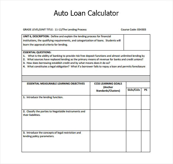 9+ Sample Auto Loan Calculators Sample Templates