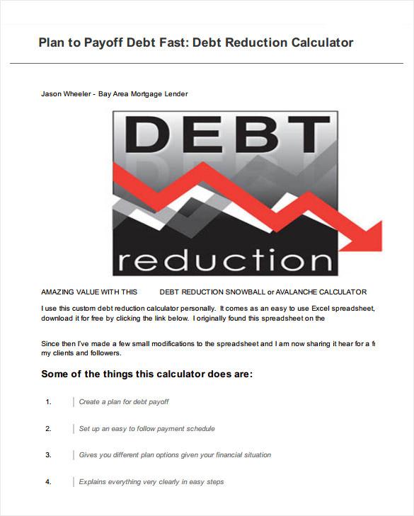 12+ Sample Debt Payoff Calculators Sample Templates - debt reduction calculator
