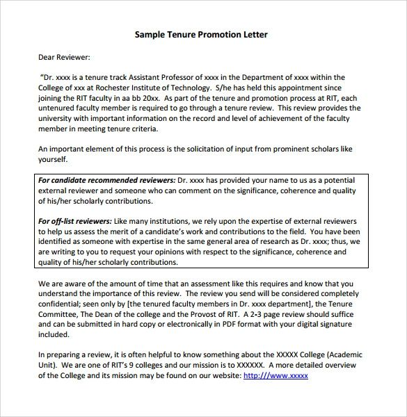 letter of recommendation for promotion and tenure