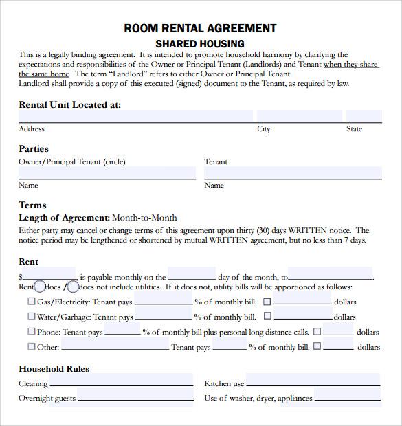 Room Rental Agreements Rental Agreement Rental Agreement Form - room rental agreements