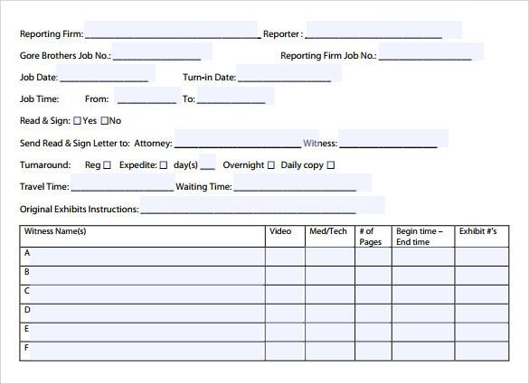 Sample attendance sheet templates - visualbrainsinfo - sample job sheet template