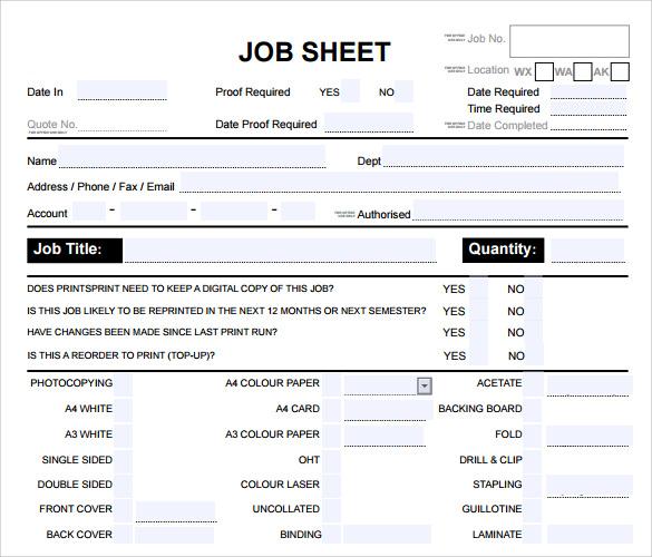 12 Job Sheet Template Examples to Download Sample Templates - job sheet example