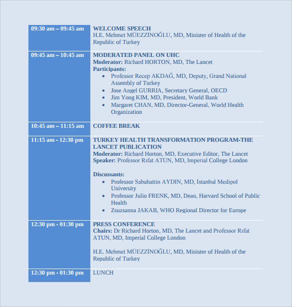 university schedule template hitecauto - sample conference schedule template