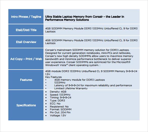 Spec Sheet Sample - 10+ Documents in PDF, Word