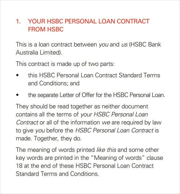 10 Loan Contract Templates Download For Free Sample Templates