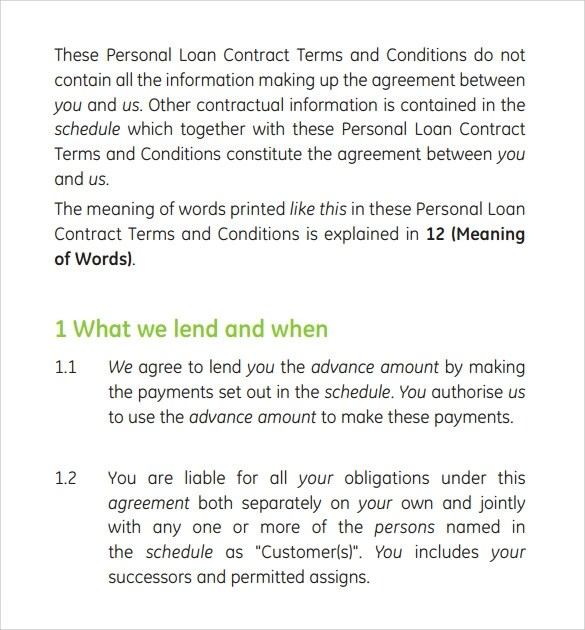 10 Loan Contract Templates Download For Free Sample Templates - personal loan contract template free