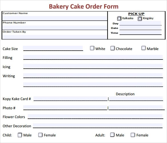 sample order forms - Onwebioinnovate - cake order form template example