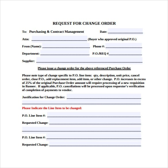 Change Request Template Software Change Request Form Template - sample change order template
