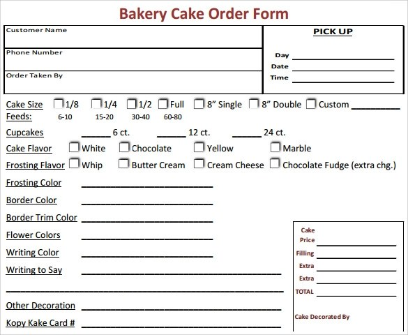 Wedding Cake Order Forms Printable wedding cake order form