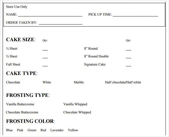 16+ Cake Order Form Templates Sample Templates - cake order form template example