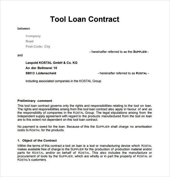 10 Loan Contract Templates Download For Free Sample Templates - loan contract
