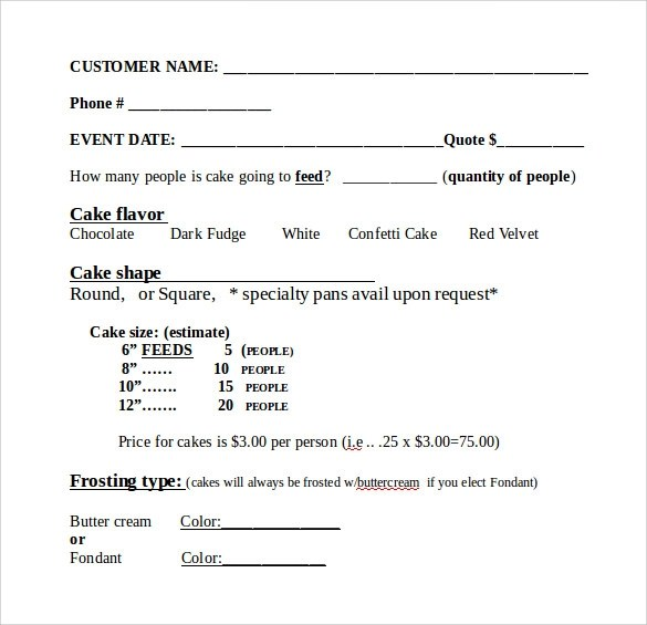 Sample Cake Order Form Template Costco Cake Order Form Template