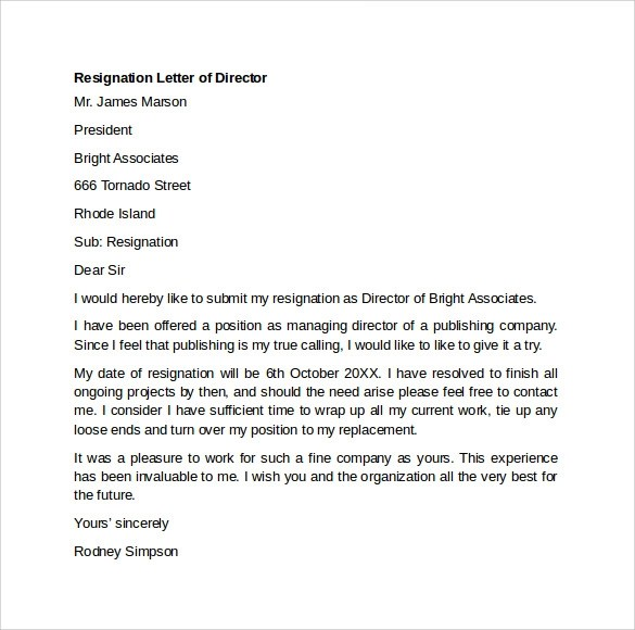 Resignation Letter Samples Template Top Form Templates Sample Resignation Letter Example 10 Free Documents