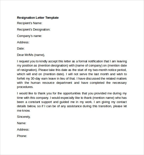 11+ Resignation Letter Examples Sample Templates - writing a resignation letter