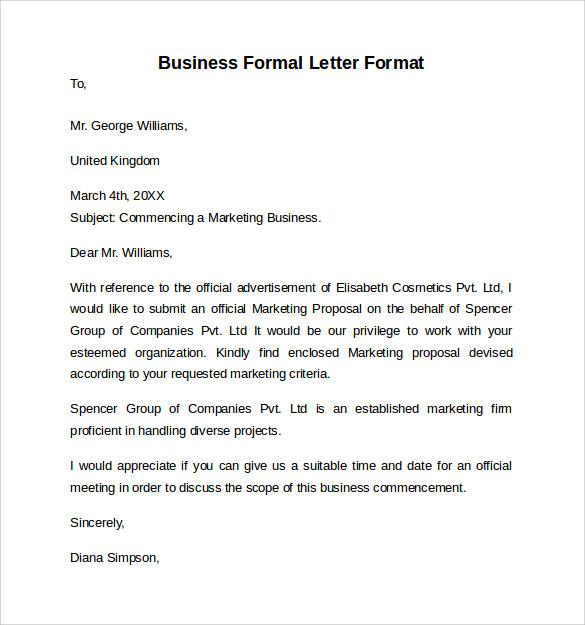 Formal Letter Format - 9+ Free Samples, Examples  Formats