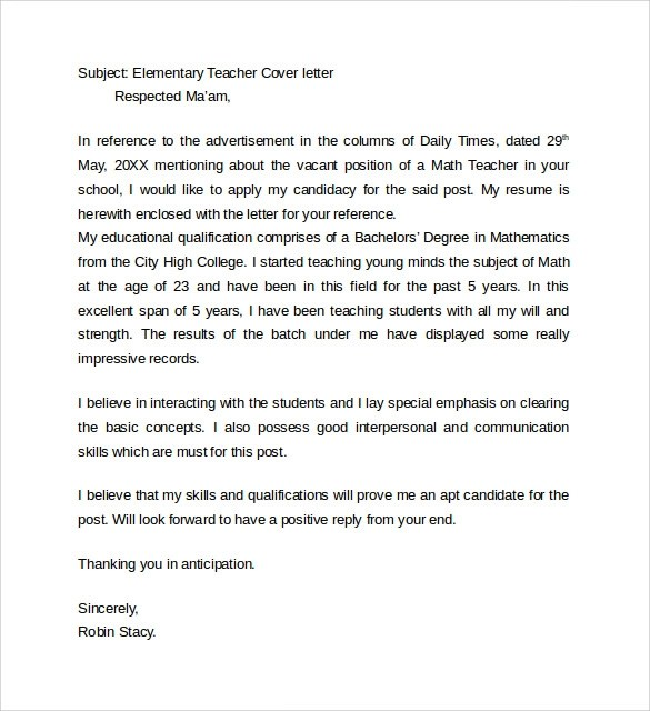 Teacher Cover Letter Template - 7 + Free Samples , Examples , Format