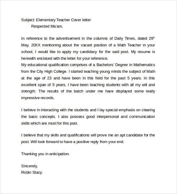 example of cover letter for teaching