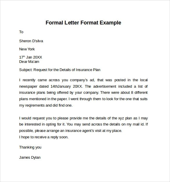 formal letter format example - Onwebioinnovate - sample professional letter format