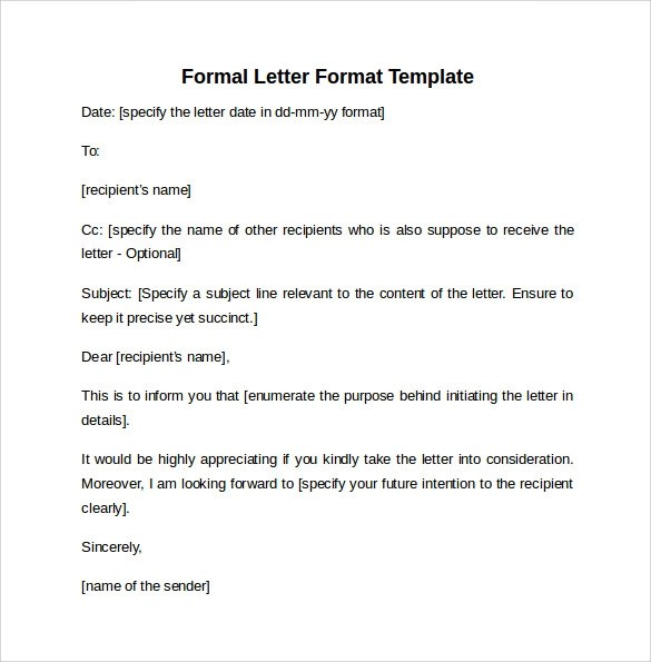 Formal Letter Format - 9+ Free Samples, Examples \ Formats - sample formal letter