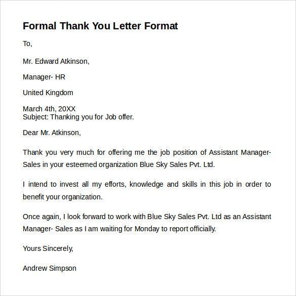formal you - Idealvistalist - formal thank you letters
