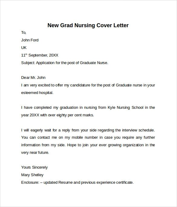 new nursing graduate cover letter
