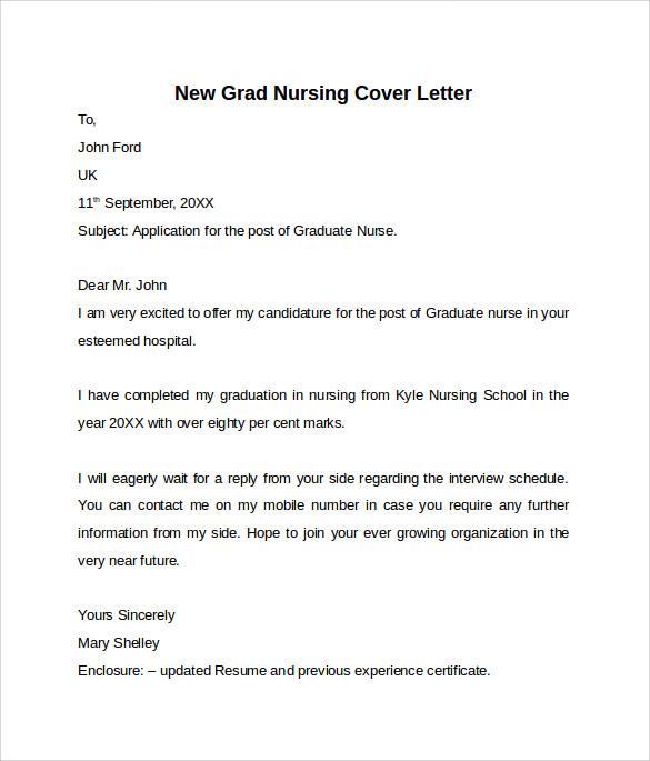 nursing grad cover letter