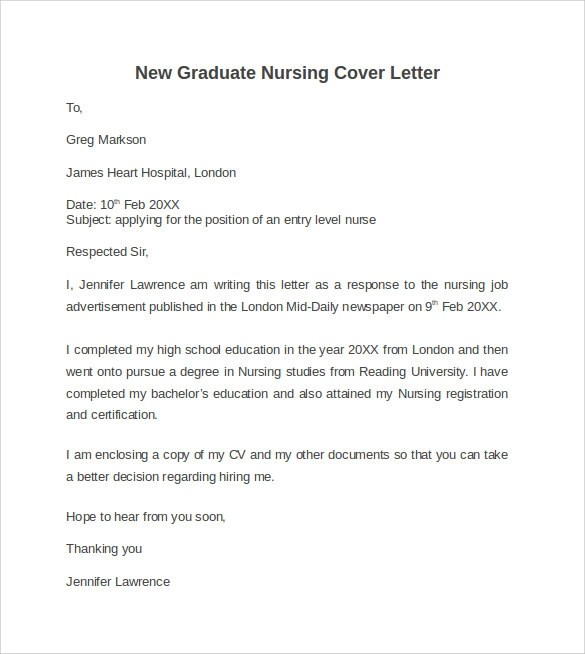 sample cover letter for nursing jobs letter nursing grad physical new grad nurse pinterest
