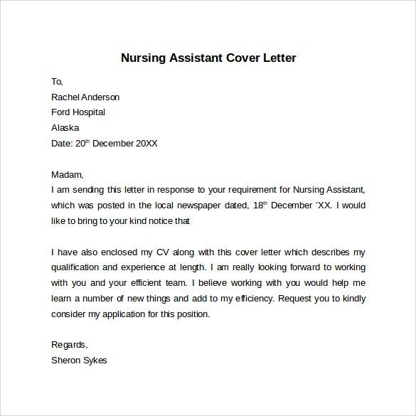 sample nursing assistant cover letter