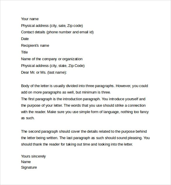 Letter Samples Free Letter Templates Personal And Professional Letter 12 Samples Examples And Formats