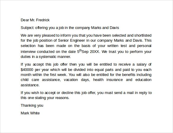 job offer letter template free - Intoanysearch - job offer letter content