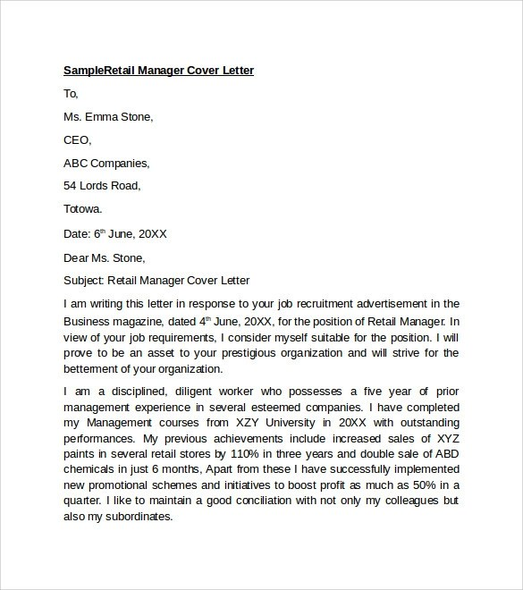Sample Retail Cover Letter Template - 9+ Download Free Documents In - sample retail cover letter template example