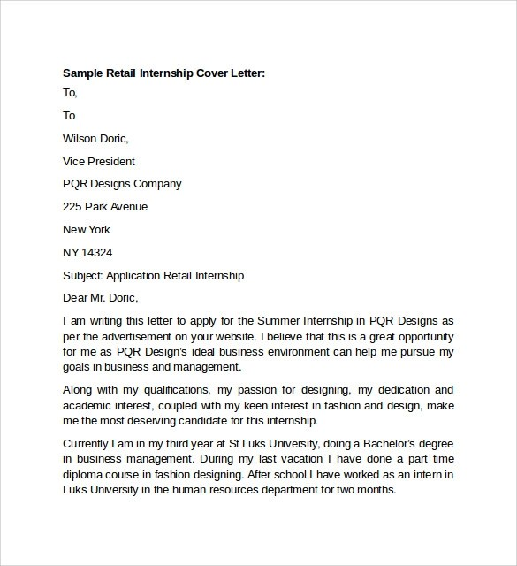 10 Retail Cover Letter Templates to Download for Free Sample Templates