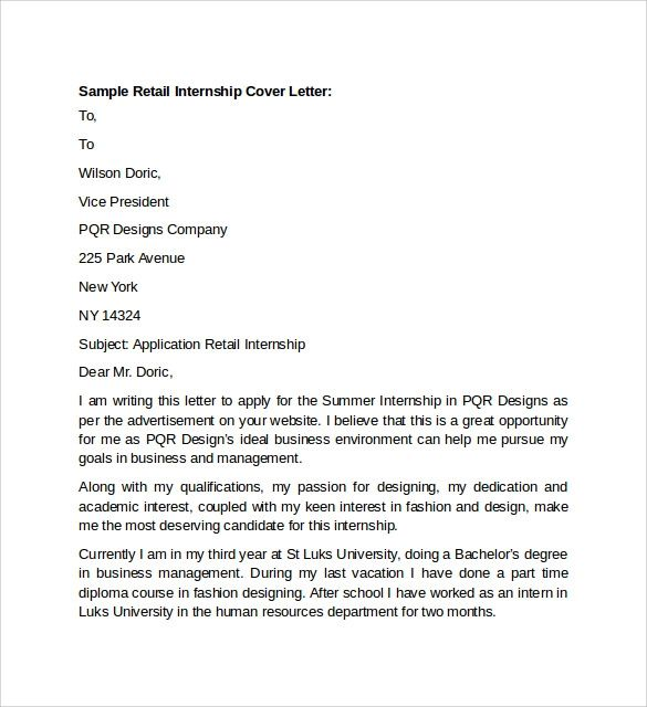 sample of a resume cover letter for a retail position