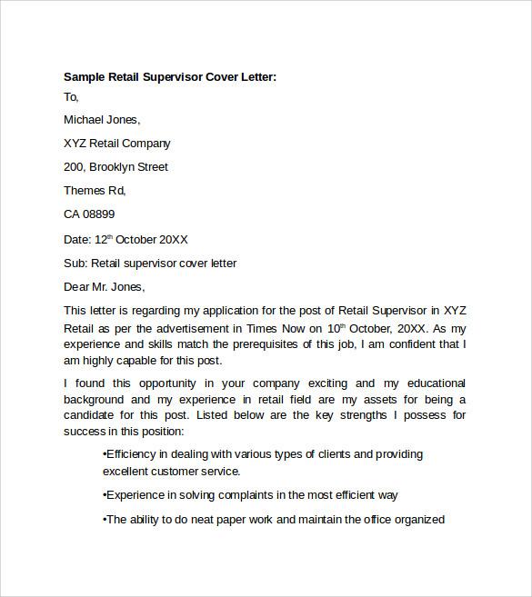 sample resume cover letter for retail job