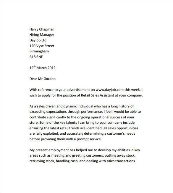 Sample Retail Cover Letter Template - 9+ Download Free Documents In