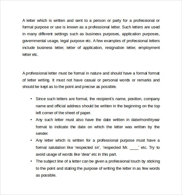 12 Professional Letters \u2013 Samples , Examples  Formats Sample