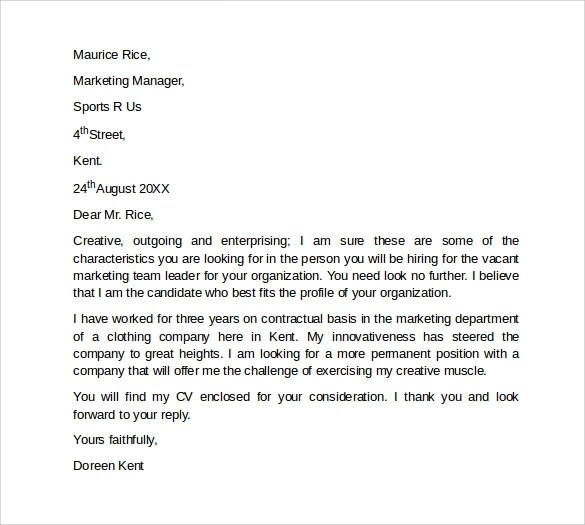 Sample Marketing Cover Letter Template 9 + Download Free Documents - marketing cover letter