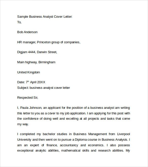 9 Business Cover Letters \u2013 Samples , Examples  Formats Sample