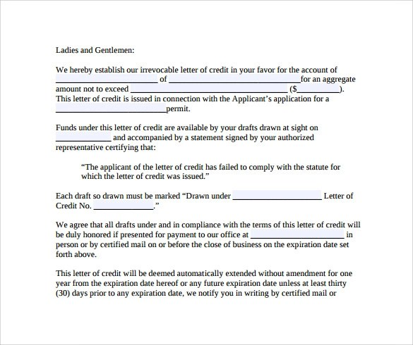 Letter Of Credit - 9+ Free Samples , Examples , Formats