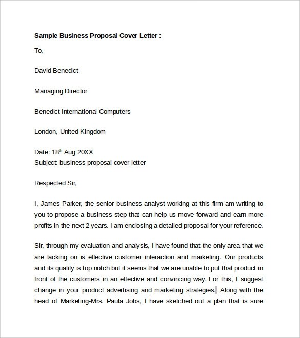 Business Cover Letter - 8+ Free Samples , Examples , Format - free sample business proposals